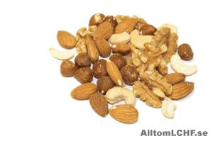Nötter är ett bra val när man äter LCHF